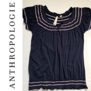 Anthropologie Little Yellow Button Smock Blue XS